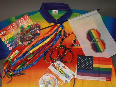 """Miscellaneous objects from the museum's collection that feature rainbows, including """"That's So Gay!"""" trivia game, coasters, and flags promoting marriage equality and immigration equality"""