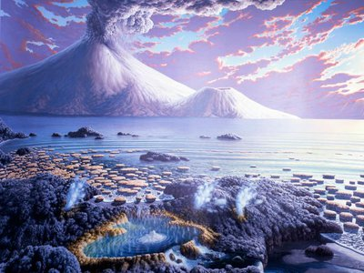 An artist's depiction of Earth during the Archean Eon, from 4 to 2.5 billion years ago, when life consisted of only single-celled microbes with no nucleus (prokaryotes). How these primitive organisms first formed from chemical reactions remains one of the greatest mysteries of science.