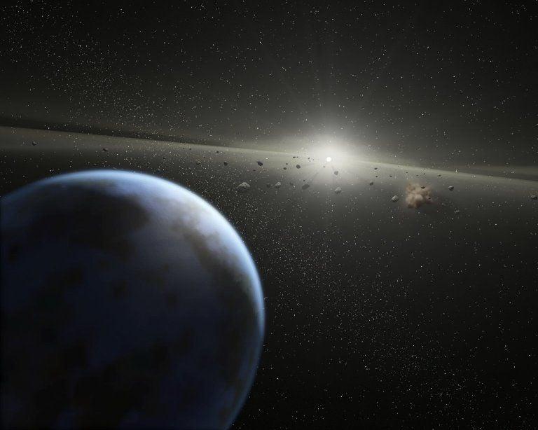 An artist's imagining of an alien asteroid belt