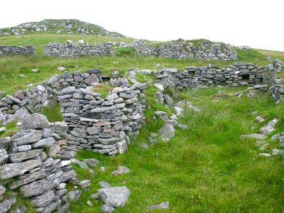 Ruins of farms on Fuaigh Mòr, an island evicted during the Highland Clearances