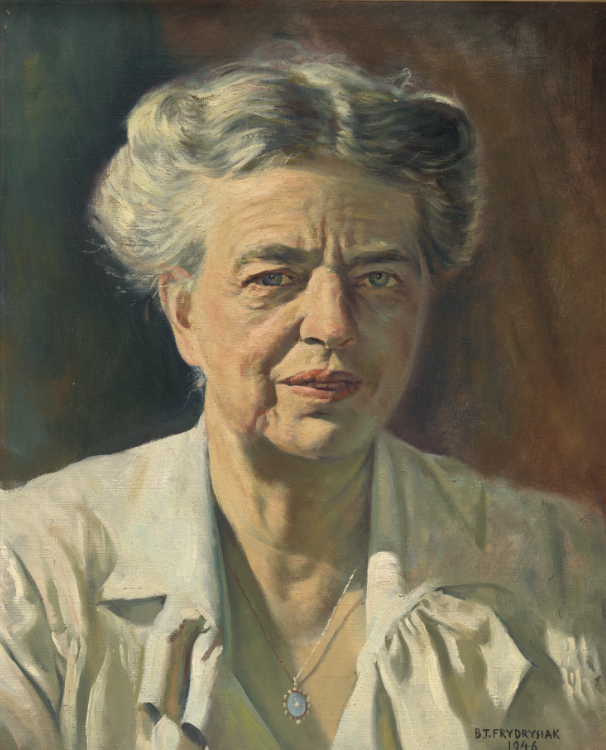 Eleanor Roosevelt by Bernard T. Frydrysiak, 1946; Oil on canvas; Ford and Marni Roosevelt