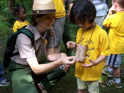 Learning about bugs at Cuyahoga Valley National Park, Ohio.