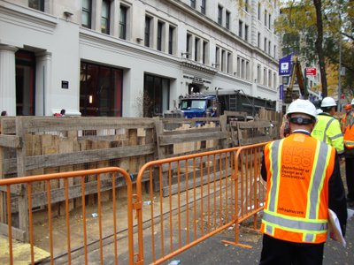 The site where workers found crypts just a few feet beneath the surface.