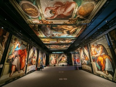 Organizers used state-of-the-art technology to create nearly life-size reproductions of Michelangelo's famed Sistine Chapel frescoes.