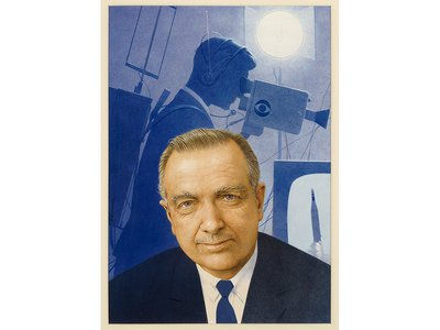 Walter Cronkite, Robert Vickrey, 1966, watercolor, gouache and graphite pencil on paper, National Portrait Gallery, Smithsonian Institution; gift of Time Magazine