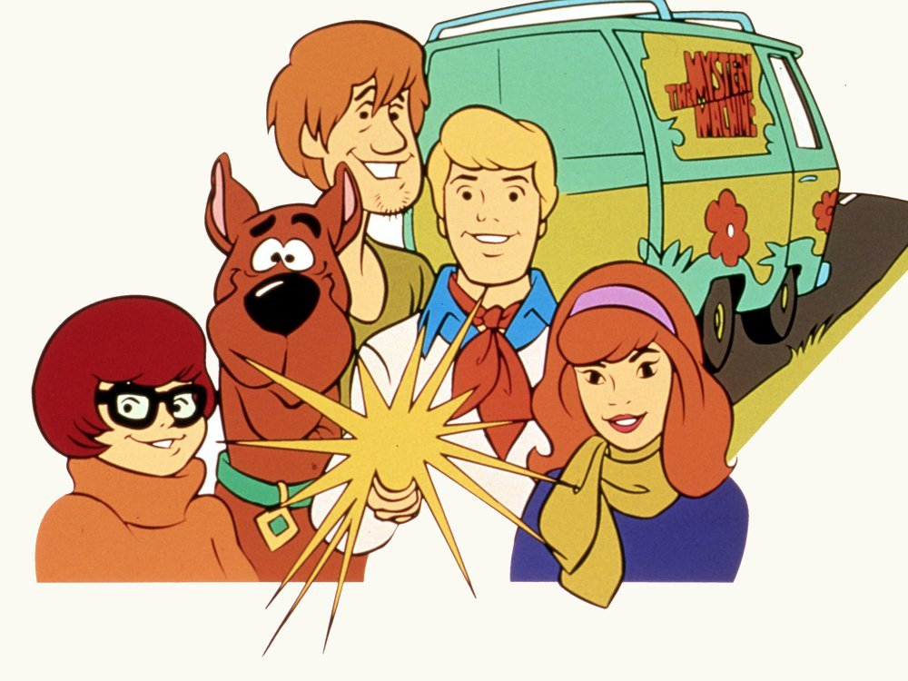 Scooby gang in front of the Mystery Machine