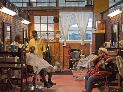 Older community barbershops in Detroit serve as community gathering places.