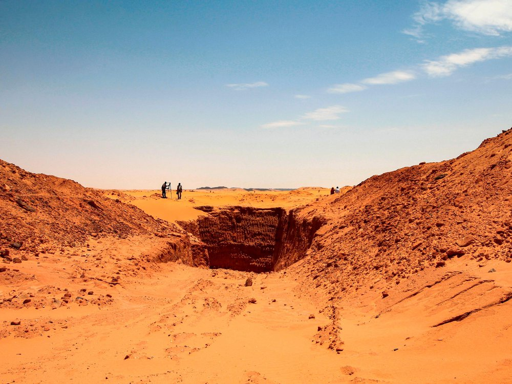 Trench dug by treasure hunters