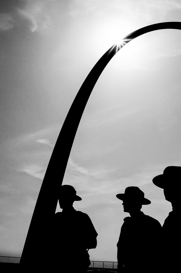 Park Rangers standing below Gateway Arch in St Louis thumbnail