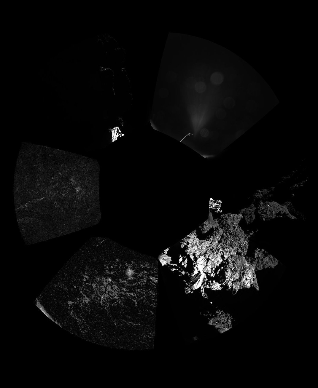 The first panoramic image from the surface of a comet, unprocessed, shows a 360 degree view around Philae -- the lander's feet are visible in some frames, credit: ESA/Rosetta/Philae/CIVA