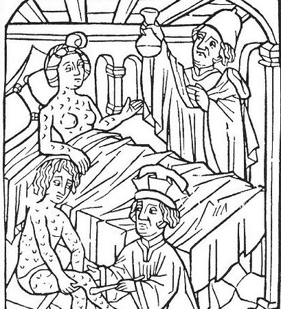 The earliest known portrayal of patients suffering from syphilis, from Vienna in 1498.