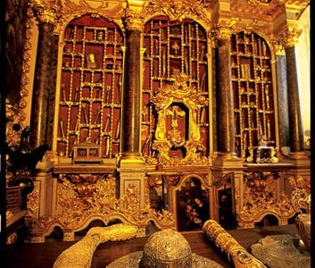 Grisly glory: relics (fragments of leg, skull and hand, encased in gold and jewels, are said to be remains of the city's patron saint, Blaise) attest to wealth amassed by trade in goods from wines to woolens.