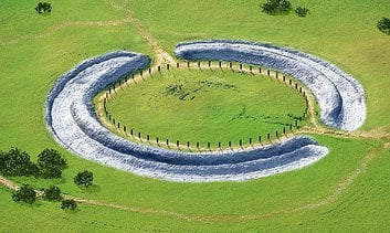 Work on Stonehenge began around 3000 B.C., with a ditch circling wood posts.