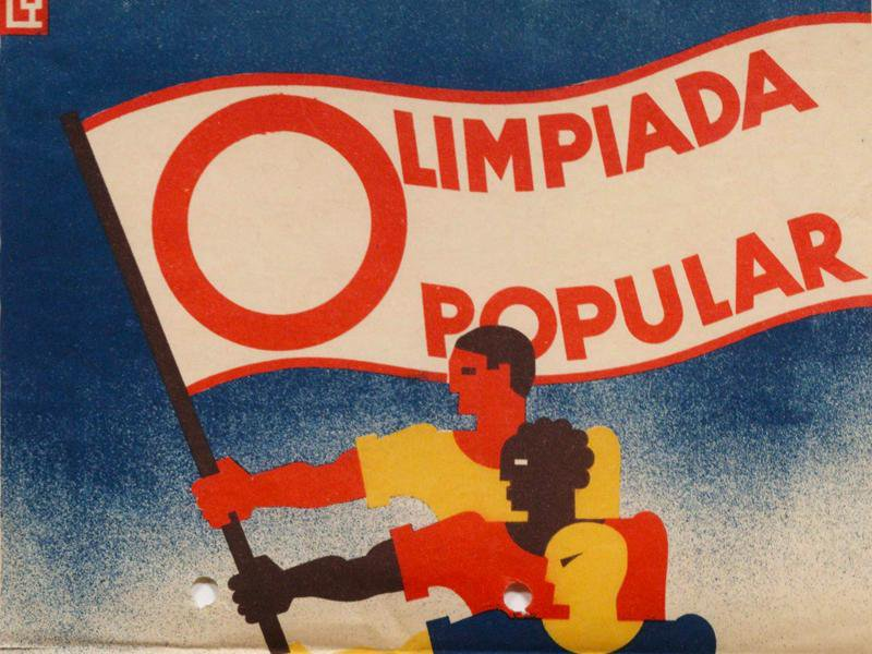 Close-up of poster advertising the People's Olympiad