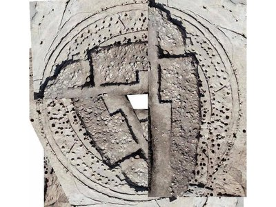 Archaeologists have excavated about one-third of the 66-foot wide timber circle, shown on the right. The other portion of this composite image draws on an aerial photograph to give a sense of the structure's size.