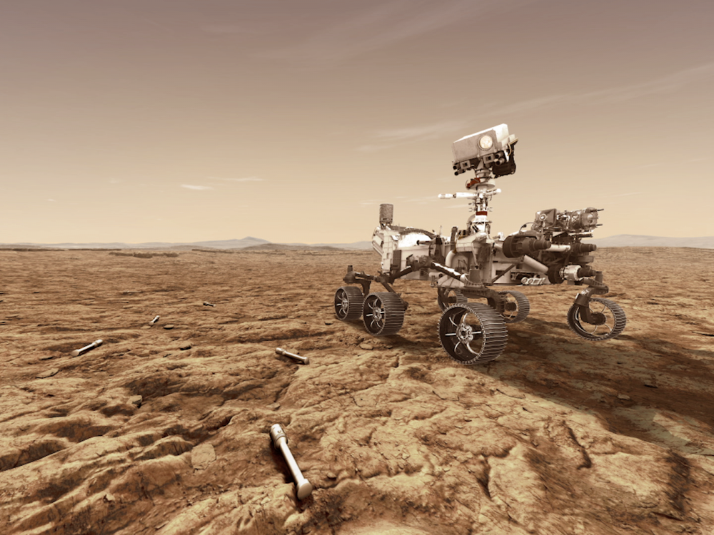 Artist's concept of Mars 2020 rover with sample tubes.