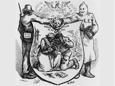 A cartoon by illustrator Thomas Nast shows a member of the White League and a member of the Ku Klux Klan joining hands over a terrorized black family.