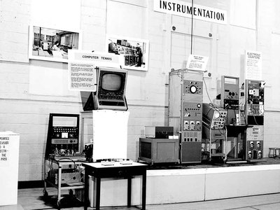 """A 1959 exhibition of the first video game """"Tennis For Two,"""" designed physicist William Higinbotham at Brookhaven National Laboratory in 1958."""