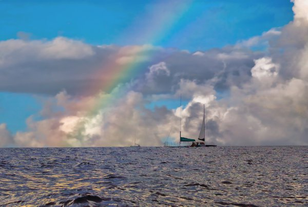 Spiritual scene of rainbow with boat. thumbnail