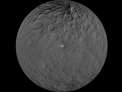 This orthographic projection shows Ceres, centered on Occator crater and the brightest spot on Ceres.