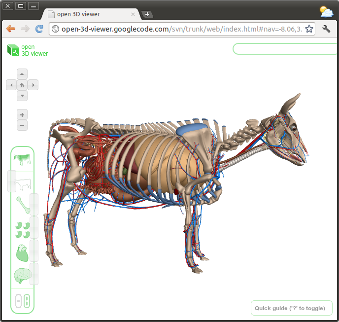The Google Cow model, now part of the open-3d-viewer project