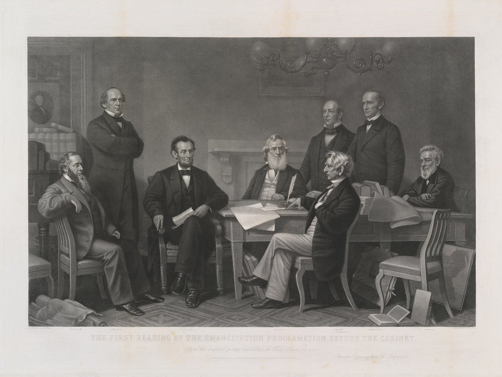 The First Reading of the Emancipation Proclamation before the Cabinet / Alexander Hay Ritchie, after Francis B. Carpenter / 1866 / National Portrait Gallery, Smithsonian Institution / Gift of Mrs. Chester E. King