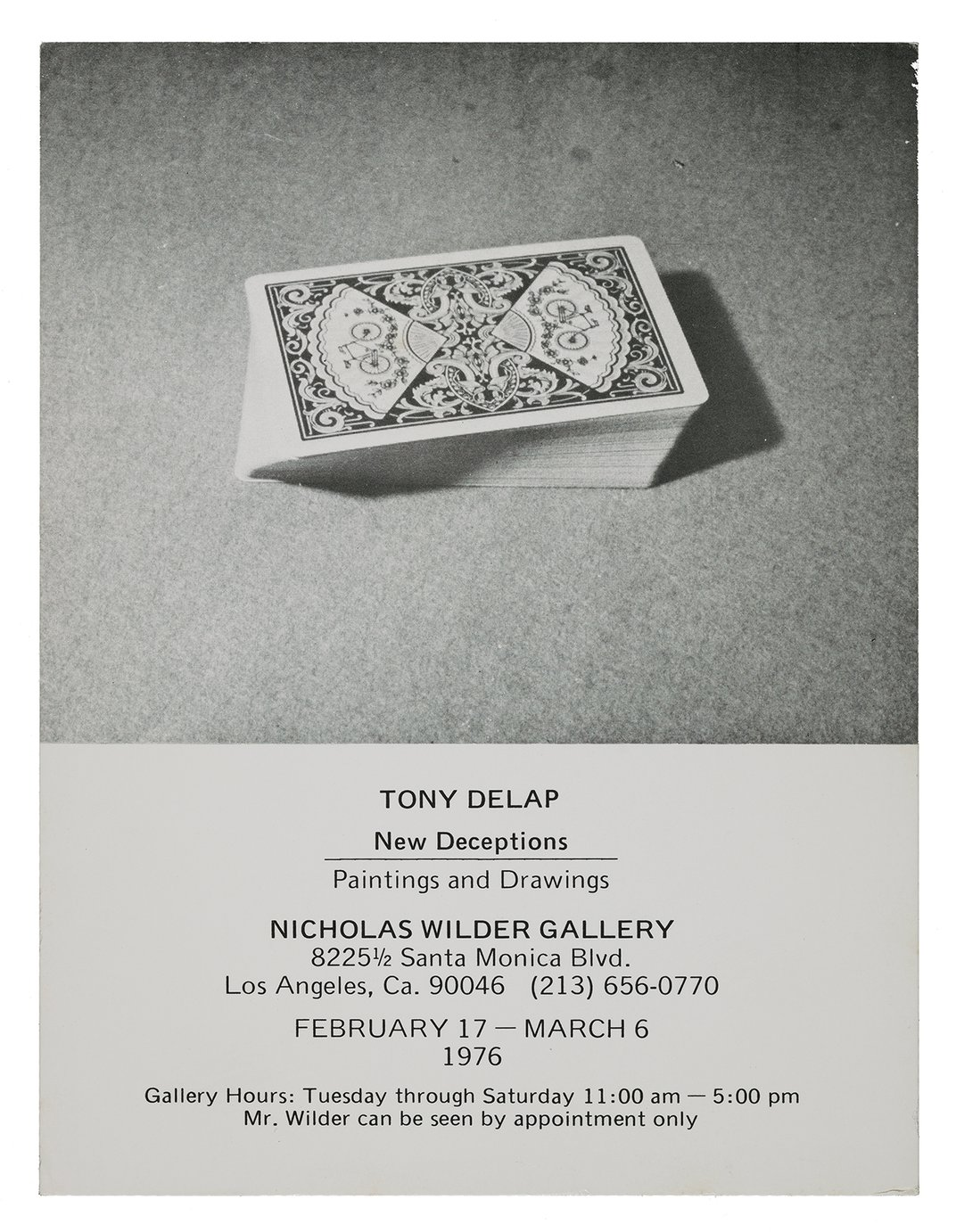 Announcement for the exhibition Tony DeLap, New Deceptions