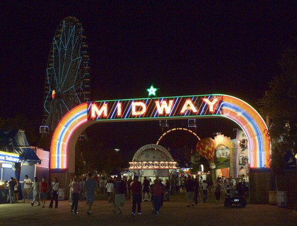 Crowds entering the Midway at the Texas State Fair thumbnail
