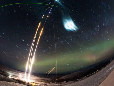 To investigate how these glowing clouds form, Richard Collins a space physicist, and his team in 2018 launched a suborbital rocket filled with water, known as NASA's Super Soaker Rocket, into the Alaskan sky to try and create an artificial polar mesospheric cloud.