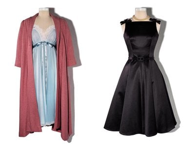 Mrs. Maisel's pink wool house coat and peignoir nightgown, worn in the pilot episode, and black dress, worn in the season one finale