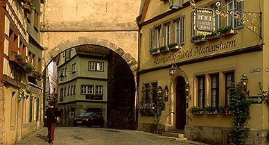 Rothenburg is still Germany's best-preserved walled town.  In the Middle Ages, Rothenburg was Germany's second-largest city with a population of 6,000.