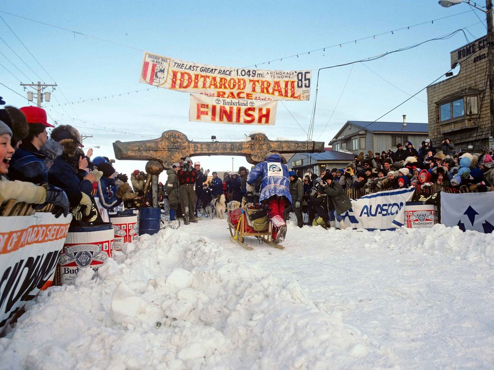 Libby Riddles at the Finish Line 1985