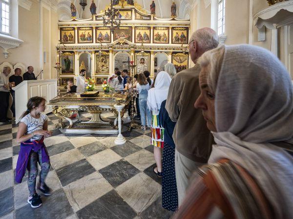 Queue for communion, St. Spasa Cathedral, Herceg Novi, Montenegro thumbnail