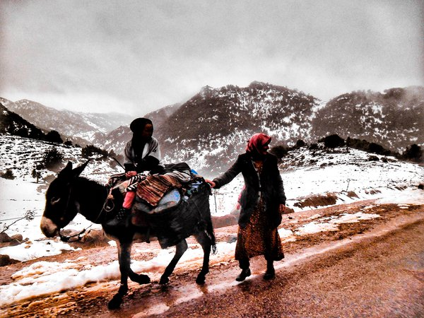 The mother and her son on the way to collect firewood, for the purpose of heating from extreme cold thumbnail
