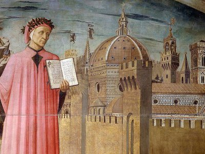 Portrait of Dante Alighieri, Florence and the allegory of the Divine Comedy, 1465, detail.