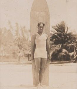 Duke Kahanamoku, pictured here circa 1915, helped popularize surfing on the mainland and won several Olympic medals for swimming.