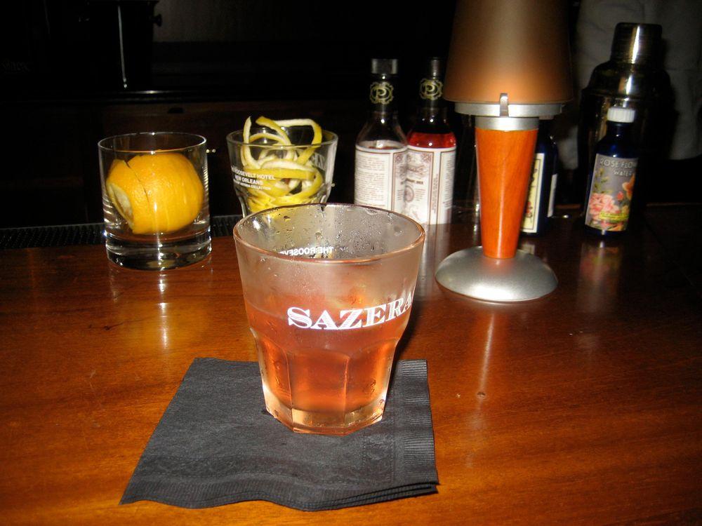 Sazerac cocktail at the Sazerac bar