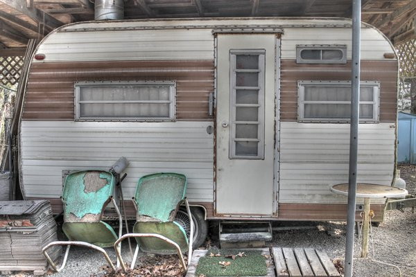 Blue Chairs, Vintage Camper thumbnail