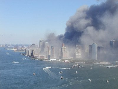 Boats arrive at Manhattan's Battery to rescue New Yorkers from the devastation wrought by the 9/11 attacks.