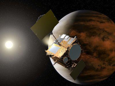 An artist's depiction of the Akatsuki spacecraft in orbit around Venus.