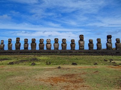 The Moai sculptures on Rapa Nui are at risk of collapsing into the ocean as coastal erosion continues.