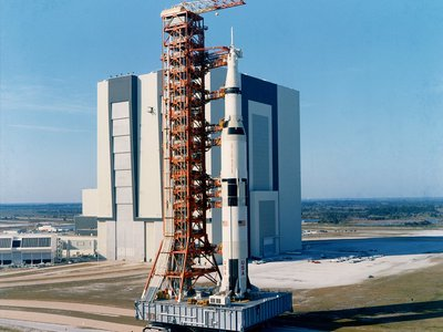 A Saturn V rocket being rolled out to the launch pad for Apollo 10.