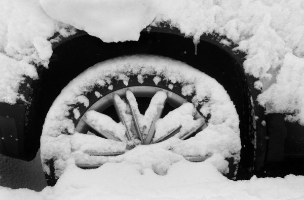 Snow Decorated Tire Hubcap thumbnail