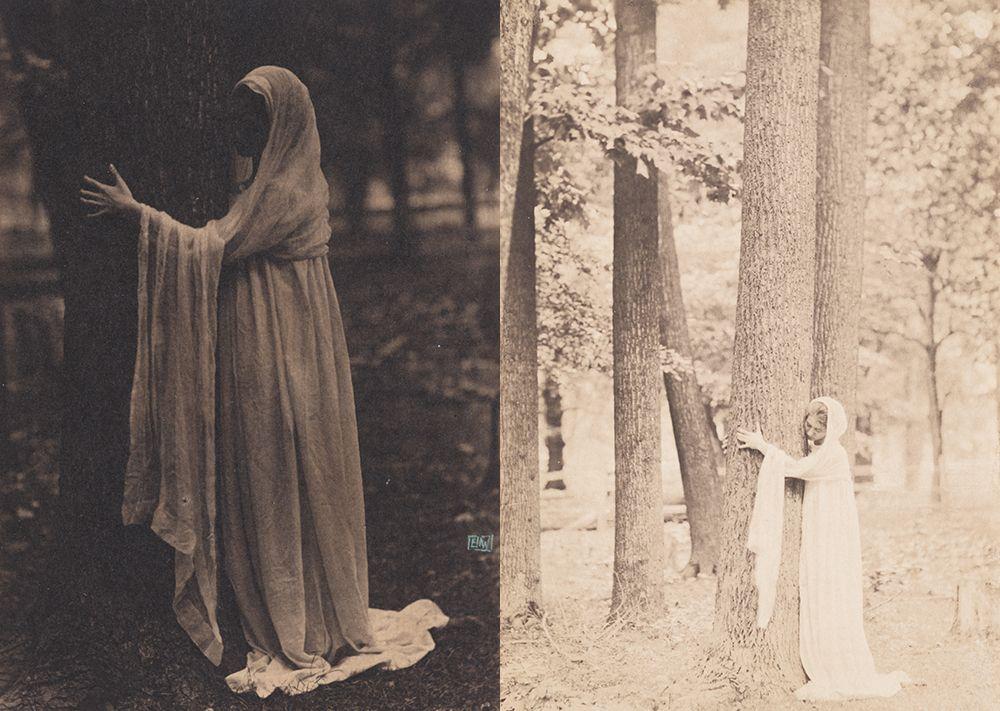 Violet Oakley in two poses photographed by Eva Watson-Schütze