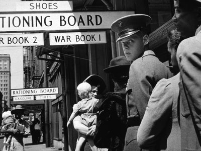 March 1943: A line at a rationing board in New Orleans, Louisiana