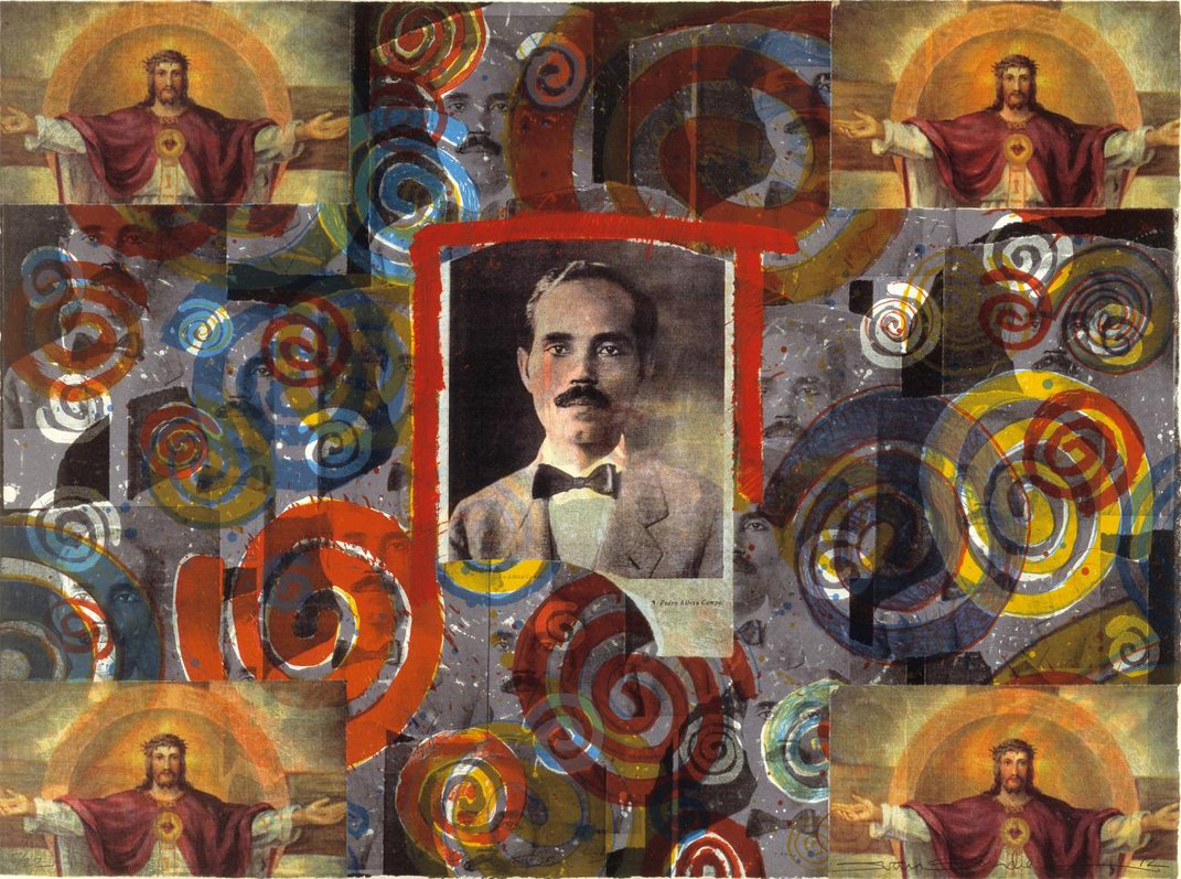 A painting with a figure of a man in the middle and many different collaged images around it.