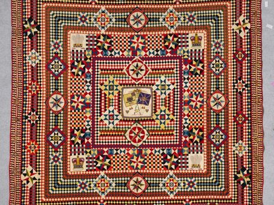 Soldier's Patchwork with Incredible Border, artist unidentified, India, 1855 (pre-1881)