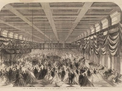 """An engraving from the Illustrated London News, recorded the """"Ball in Honour of President Lincoln in the Great Hall of the Patent Office at Washington,"""" which today is the home of the Smithsonian American Art Museum and the National Portrait Gallery."""