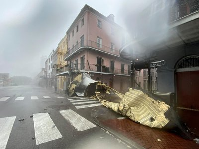 Buildings in New Orleans' historic French Quarter, pictured here, sustained damage when Hurricane Ida made landfall on Sunday.