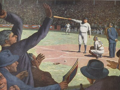 With two fingers Babe Ruth pointed (above: a re-imagined illustration of Babe Ruth calling his shot in the fifth inning of the third game, 1932 World Series). Some thought he was scolding the Cubs' bench, many more believed he was pointing toward centerfield, where he hit a soaring home run.